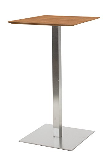 Tenzo 3701-044 Chill Designer Table de Bar, Plateau en Panneaux MDF ép. 19 mm recouverts de placage Noyer. Piètement, Socle Acier brossé, 105 x 60 x 60 cm (HxBxT)
