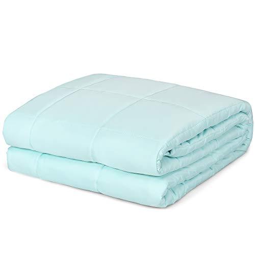 COSTWAY Gewichtsdecke kühl, Therapiedecke aus Baumwolle, Schwere Decke Anti Stress, Beschwerte Decke, Gewichtete Decke, Weighted Blanket für Erwachsene und Kinder, grün (122 x 183 cm/6,8 kg)