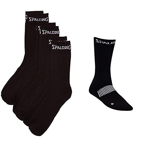 Spalding Mid Cut Calcetines, 3 Pares, Sin género, Negro, 41-45 + Coloured S Calcetín Funcional Con Logo, Hombre, Negro (Black/White), 41-45