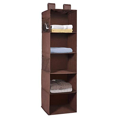 MaidMAX Hanging Wardrobe Storage, 5 Shelves Heavy Duty Organiser Storage Unit with 4 Side mesh Pockets for Sweaters, Shoes, Accessories - Brown(30.5 x 29 x 106 cm)