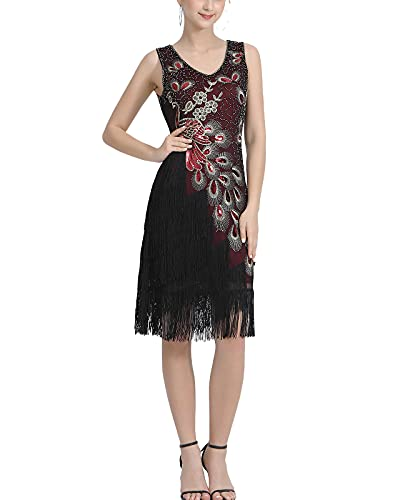 Whitewed Roaring 20S Dress for Party Women's 1920S Beaded Peacock Pattern Sequin Fringe Costumes Red