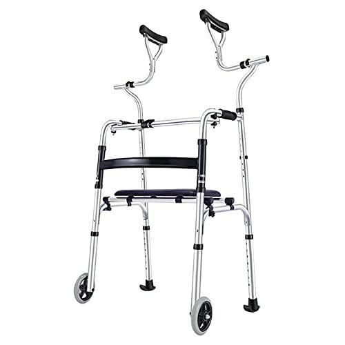 qiaosiye Andador Adultos de Aluminio, Andadores Plegable con Asiento, Ligero, Caminador para Ancianos y minusvalidos (2 Ruedas y 6 Ruedas)