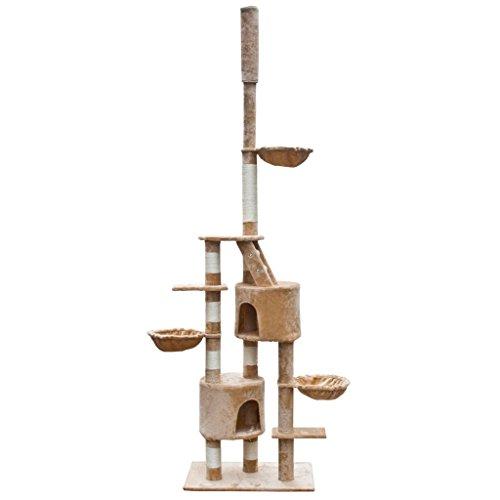 SENLUOWX krabpaal voor katten XL 230-260 cm, met 3 hangmatten, 1 ladder en meerdere balkons, in hoogte verstelbaar 230-260 cm, beige