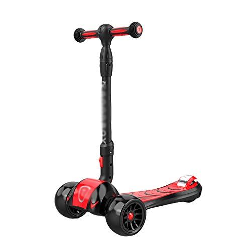 Patinete Scooter Plegable Ajustable Altura PU Flashing Wheels Kick Scooter para Niños Edades 2-14 Lean para Dirigir (Color : Red)