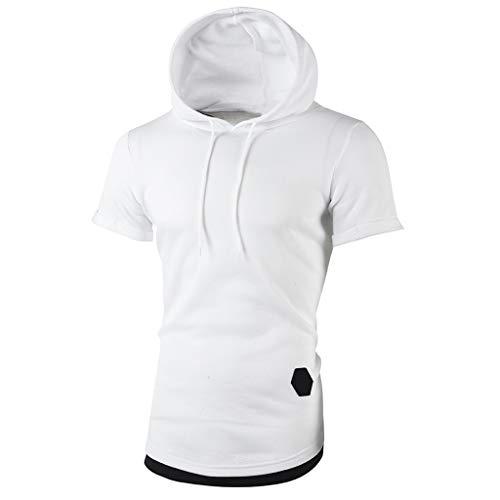 Homebaby Maglietta da Uomo Eleganti Vintage T-Shirt Top a Maniche Corte con Cappuccio Scollo Tinta Unita Girocollo Fit Fitness Tops Casuale Palestra Estive Camicie Uomo Slim Fit