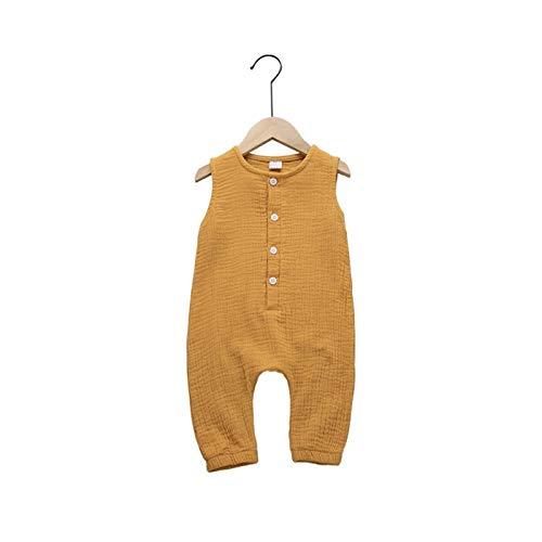 Youpin Nueva ropa infantil de verano de algodón y lino, 7 colores, una sola pieza, sin mangas, ropa de bebé recién nacido, ropa de bebé (color: amarillo, talla de niño: 9M)