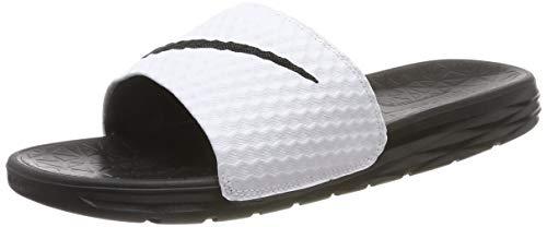 Nike Men's Benassi Solarsoft Slide Sandal (12, White/Black)