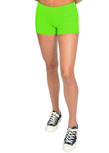 Stretch is Comfort Women's Nylon Spandex Stretch Booty Shorts Neon Lime Large