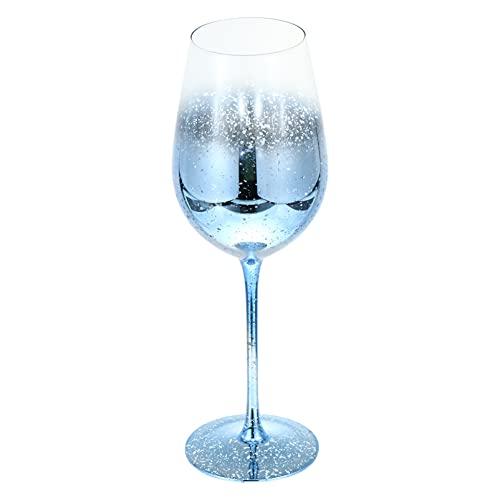 Kisangel Copa de Vidrio Copa Azul Copa de Vino Copa de Champán Copas de Vidrio Flautas de Vidrio con Tallo Largo para Bar Nocturno Fiesta en Casa Boda