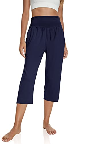 UEU Women's High Waisted Capri Summer Casual Summer Loose Fit Straight Wide Leg Plus Size Yoga Pants Comfy Lounge Sweat Capris Sweatpants with Pockets(Navy,2XL)