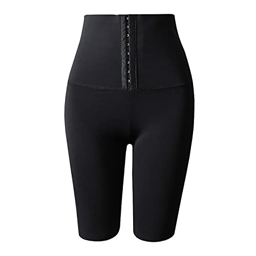 Uniqueheart Pantalones de Fitness de Yoga de Cintura Alta de Sudor de Pecho a la Moda Pantalones de desintoxicación y sudoración acelerados del Todo-fósforo - Negro Cruzado 5 Puntos L