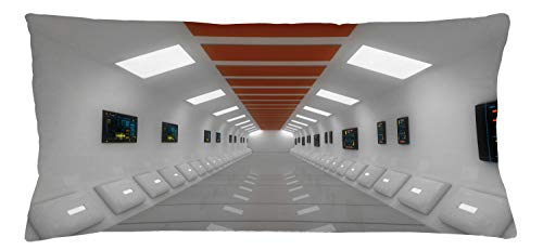 Lunarable Futuristic Throw Pillow Cushion Cover, Space Station UFO Futuristic Hallway with High Technology Laboratory Photo Artwork, Decorative Rectangle Accent Pillow Case, 36' X 16', White