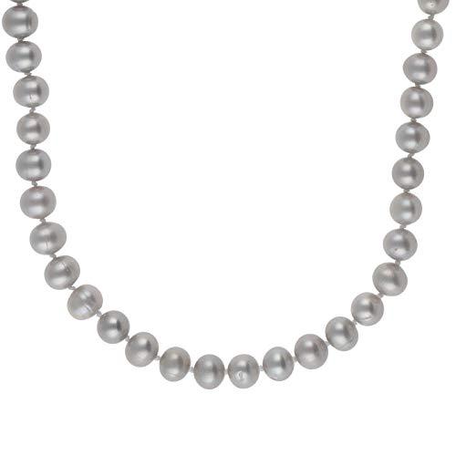 Perlenkette 925 Sterling Silber mit Süßwasser-Zuchtperlen grau 50 cm lang Damen Halskette