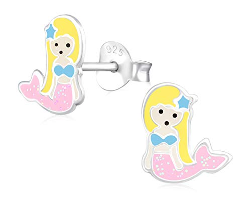 Laimons Mädchen Kids Kinder-Ohrstecker Ohrringe Kinderschmuck Meerjungfrau Seejungfrau Fischfrau Rosa Gelb Blau Glitzer aus Sterling Silber 925