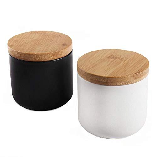 77L Vorratsdose (2er Set), Keramik Vorratsdose mit Luftdichtem Verschluss Bambusdeckel -180ML (6.08 FL OZ) Vorratsbehälter aus Keramik zum Servieren von Kaffee, Gewürz und mehr (weiß und schwarz)