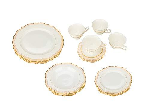 Joseph Seigh, 6664-20, juego de vajilla de porcelana fina con borde curvado festoneado, elegante juego de vajilla, platos de sopa, platos planos, tazas de té, platillos, juego de 4