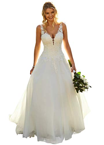 YMSHA V Neck Weddings Wedding Dress with Lace Long Aline Tulle Formal Party Dress for Women 2021 Ivory 14
