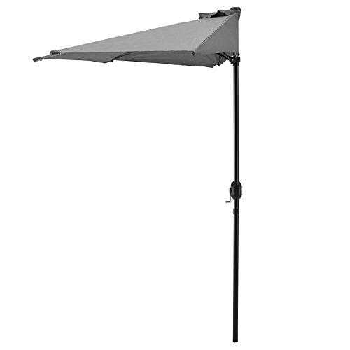 casa.pro Halbschirm Halb-Sonnenschirm Balkonschirm Marktschirm Kurbelschirm Schirm Halbrund Grau / Ø300cm H230cm / 3,5kg / Stahl/Polyester 160g/m²