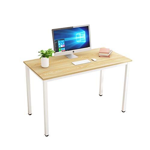 DlandHome 120 x 60 cm Computertisch Schreibtisch, anständig und Stabil, Holz, Moderner Bürotisch Arbeitstisch PC Laptop Tisch für Büroarbeit und Hausaufgaben, Eiche & Weiß