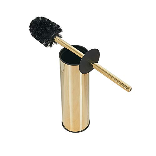 Solid Stainless Steel Toilet Bowl Brush and Holder- Stainless Steel 304 Handle Toilet Scrubber (Gold)