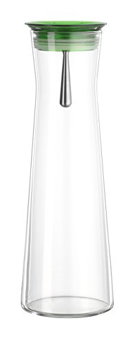 Bohemia Cristal 093 006 107 SIMAX Karaffe ca. 1100 ml aus hitzebständigem Borosilikatglas mit praktischem Ausgießer aus Kunststoff grün Indis