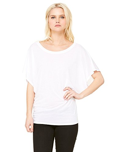 By Bella + Canvas Ladies Flowy Draped Sleeve Dolman T-Shirt - White - XL - (Style # 8821 - Original Label)