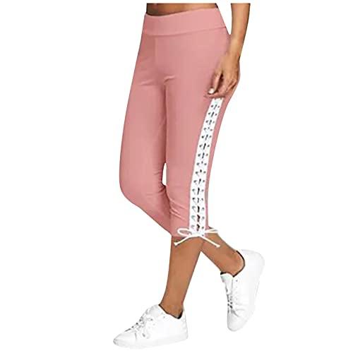 Dasongff Legging d'été basique 3/4 pour femme - Avec empiècements en dentelle - Pantalon de loisirs - Pantalon court et élégant