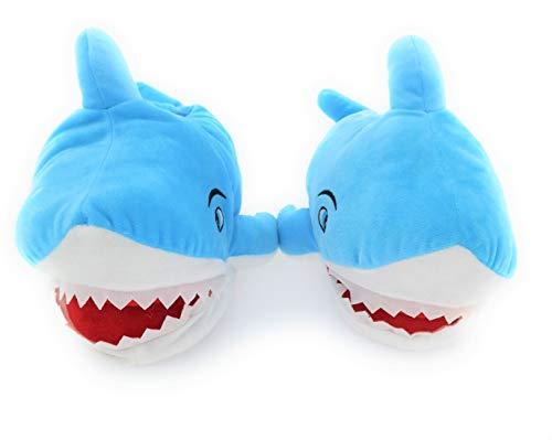 MC Trend Plüsch Hausschuhe Pantoffeln Hai Damen Mädchen Kinder Erwachsene 1 Größe größer bestellen (Hai 31/32)