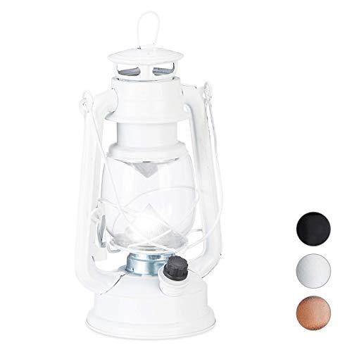 Relaxdays, weiß Sturmlaterne LED, Retro Sturmlampe als Fensterdeko oder elektrische Gartenlaterne, batteriebetrieben