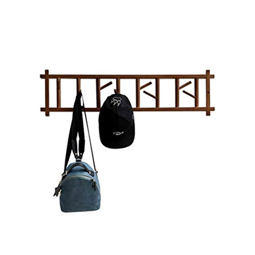 HJW Praktische opbergrek Rustieke Bamboe Opknoping Kapplank met haak, Muurbevestiging Hangende Entryway Plank voor Deur Kleding Hoed Rugzak Sleutel Bruin 1Huiyang-01020,60Cm
