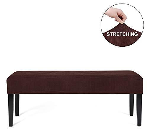 WOMACO - Funda protectora para banco de comedor, elástica, impermeable, para mesa de cocina, color café, tamaño mediano