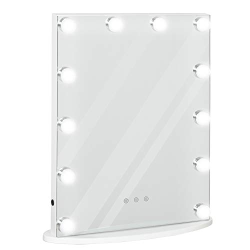 HOMCOM Espejo de Maquillaje Estilo Hollywood Espejo de Tocador con 12 Luces LED Ajustables en Brillo y Temperaturas de Color Interruptor Táctil 41,5x13,5x51 cm Blanco