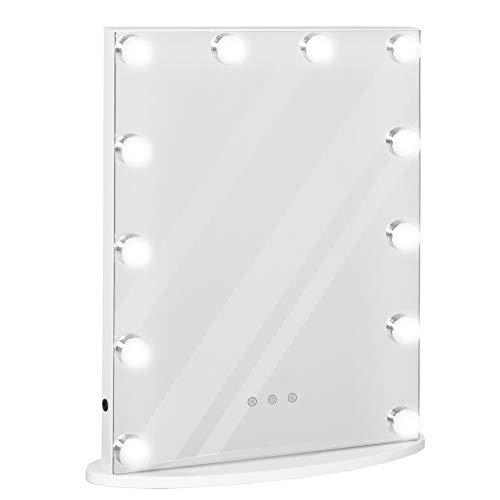 HOMCOM Hollywood Spiegel mit Beleuchtung, Schminkspiegel für Schminktisch,Theaterspiegel Kosmetikspiegel mit Licht 3 Farbtemperatur, mit USB 12 LED Licht
