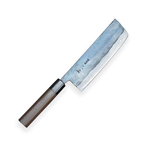 Kiya SXL3-131 Cuchillo Nakiri Suminagashi Takefu V Grado 2 acero-11 Capas Acero Damasco - Acero de Alto Carbono y Mango de sándalo de 8 filos, Hoja de 170 mm