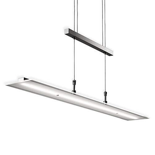 B.K.Licht Lámpara LED de techo colgante de metal y cristal auténtico, altura y luminosidad regulables, 20 W, 1600 lm, 3000 K, índice de protección IP20, color níquel mate