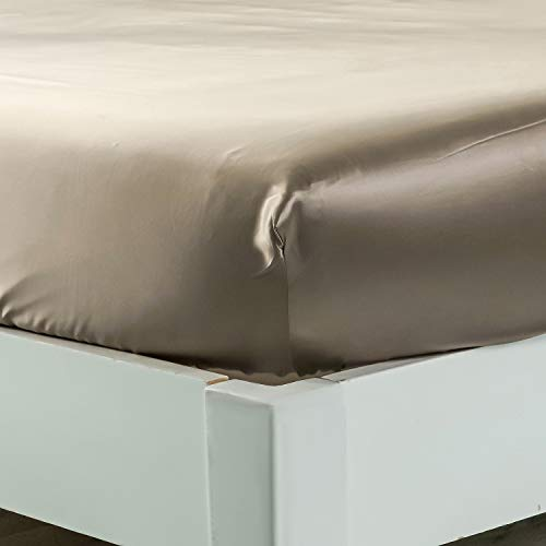 """ZIMASILK 100% Mulberry Silk Fitted Sheet,Seamless with Deep Pocket,Both Sides 19 Momme Silk, 1pc Silk Fitted Sheet Only (King 78''x80''+16"""",Taupe)"""