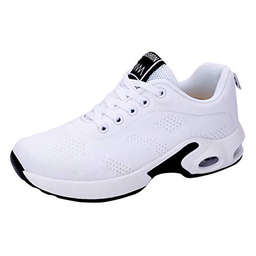LUOEM dames ademende casual Sneakers zachte Soled Mesh hardloopschoenen dansschoenen voor Oefening Dans Outdoor Activiteiten Schoenen Maat 36 (wit)
