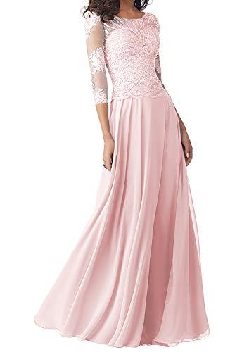 Abendkleider Lang Brautmutterkleider Langarm Spitze Hochzeitskleid Ballkleider A-Linie Chiffon Festkleider Rosa 36