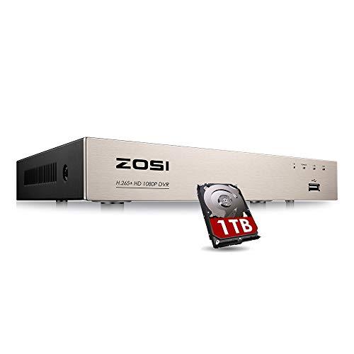 ZOSI CCTV 4CH H.265+ HD 1080P DVR Digital Videorecorder Receiver mit 1TB Festplatte, HDMI VGA Ausgang, Unterstützt TVI/AHD/CVI/Analog Kamera