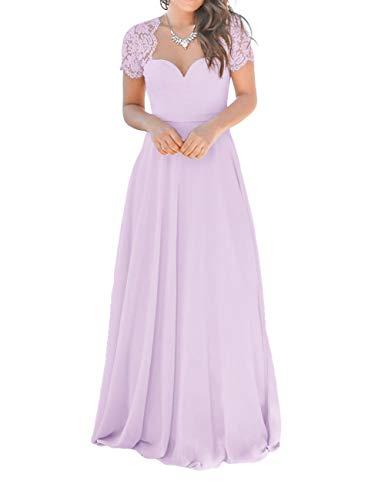 Bridesmaid Dresses Long Evening Formal Gowns Lace Cap Short Sleeve Lavender 16W