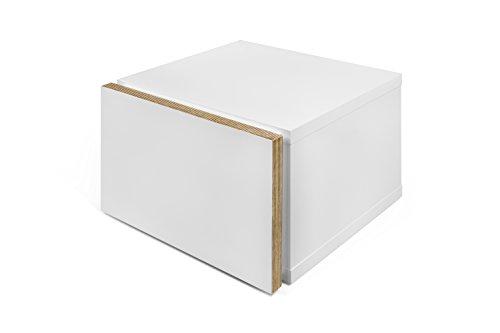 TemaHome Float Night Table, avec Bords en contreplaqué, Blanc Mat, 45 x 43 x 31 cm