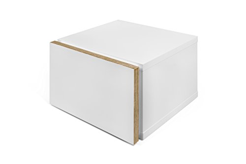 TemaHome Float Night Table, avec Bords en contreplaqué, Blanc Mat, 45 x 43 x 31 cm