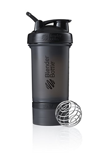 BlenderBottle ProStak Full Color Botella de Agua y Accesorios, Unisex Adulto, Negro, 450 ml