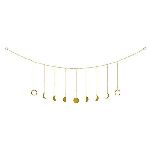 Cestor Boho Gold Moon Sun Garland with Chains Shining Phase Wall Hanging Holiday Ornaments DIY Art Room Decor for Bedroom Living Room Apartment Dorm Nursery Home Office