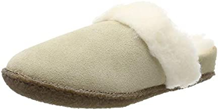 Sorel - Youth Nakiska Slide II Suede Slippers with Faux Fur Cuff and Wool Blend Lining for Kids, British Tan, Natural, 5 M US