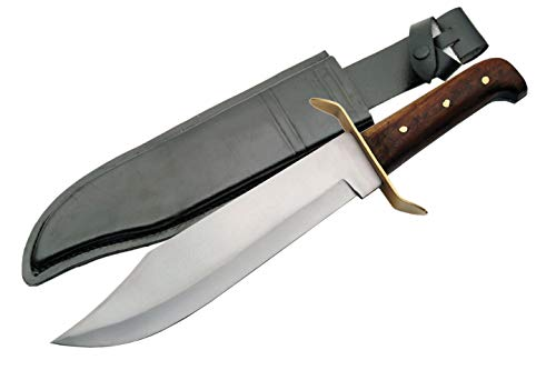 """SZCO Supplies 15"""" Classic Wood Handle Carbon Steel Bowie Blade Outdoor Survival Knife"""