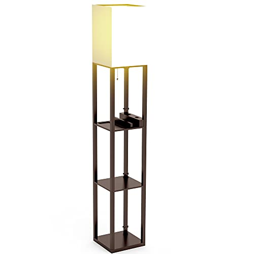 Floor Lamp with Shelves, Shelf Floor Lamps by Solid Wood with 2 Charging Ports and 1 Power Outlet, Floor Lamps for Bedrooms, Lamps for Living Room, Brown Color