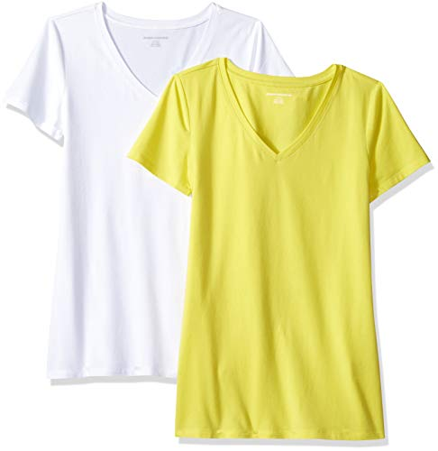 Amazon Essentials Camiseta de manga corta clásico con cuello en V, Mujer, Amarillo (Amarillo (Yellow/White)), L - XL, pack de 2