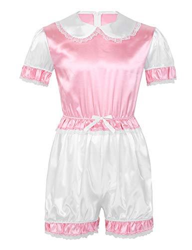 ACSUSS Men's Adult Baby Doll Collar Satin Frilly Cross Dresser Sissy Romper Bodysuit Nightwear Pink XX-Large