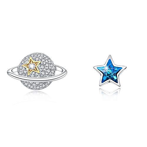 HERMOSO Lovely Planet With Star Stud Pendientes para niñas/niños/mujeres, hechos con cristal Swarovski 925 plata post joyería regalo no alérgico
